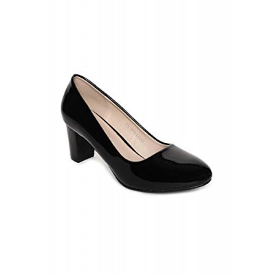 4ec4ac795613 Addons Black Colour Round Toe Patent Pumps - 3 UK .