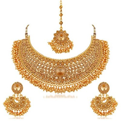 6c212f1ac Apara Bridal Gold Plated Pearl LCT Stones Necklace.