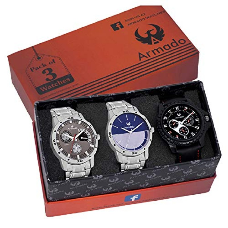 Armado Analogue Grey Dial Men s Watches - Combo of 3 8cfa326696