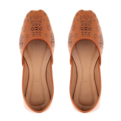 a5c2a3f7f1d185 Blossom Girl s Tan Leather Ethnic Juti ...