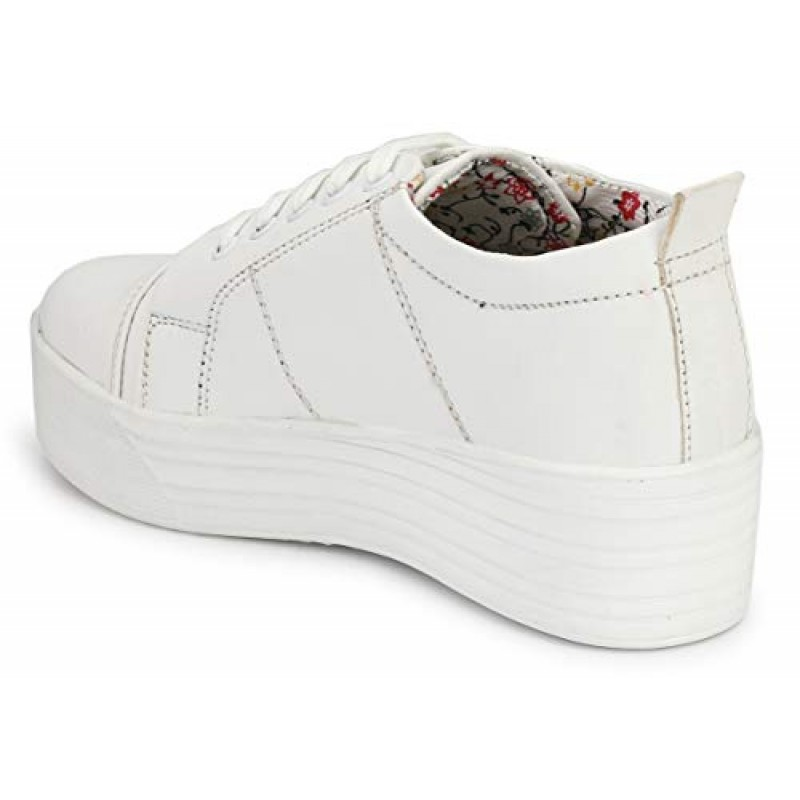 9762c64a77d058 ... Flooristo High Sole White Sneakers for Girls/Platform Shoes for Women  (4-UK ...