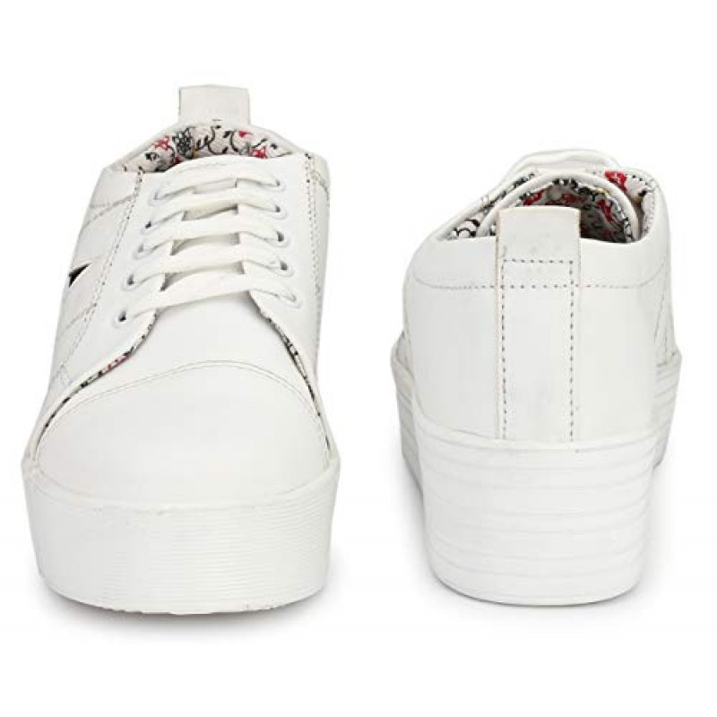e08d038cc6f934 ... Flooristo High Sole White Sneakers for Girls/Platform Shoes for Women  (4-UK