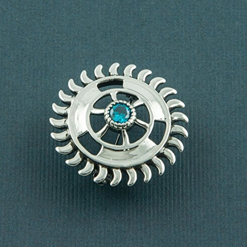 75d7349ceac fourseven Brooch in 925 Sterling Silver with Blue Topaz | Sudarshan Chakra  Brooch Unisex | Best ...