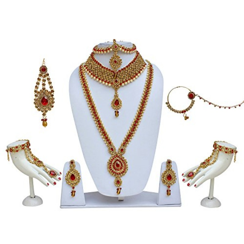 Buy Buy Lucky Jewellery Bridal Dulhan Golden Red Color Alloy