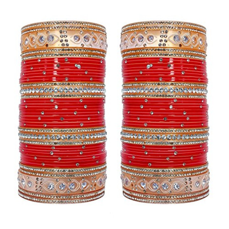 Buy Lucky Jewellery Red Stone Choora Bangles Set for Women