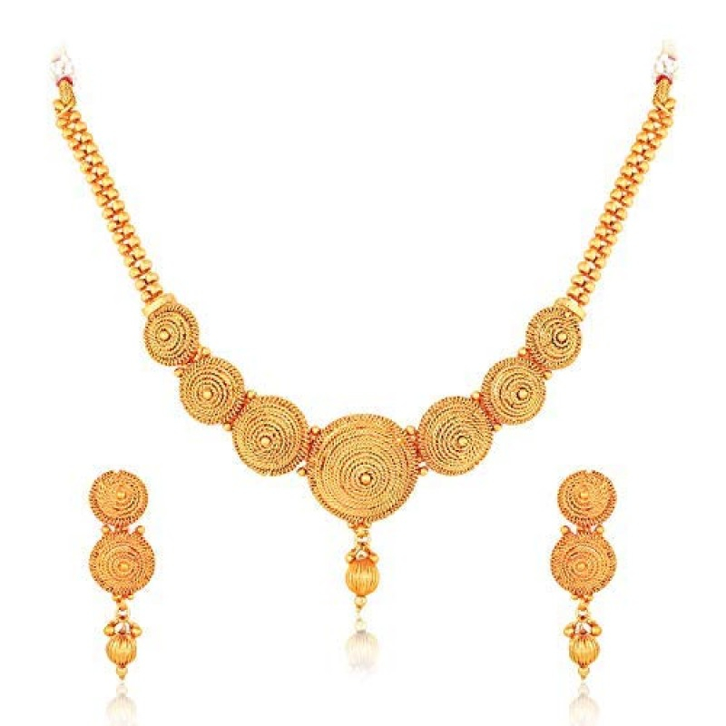 fff30f831a4a43 Meenaz Gold Plated Jewellery Necklace Set With Earrings For Women And Girls  -183