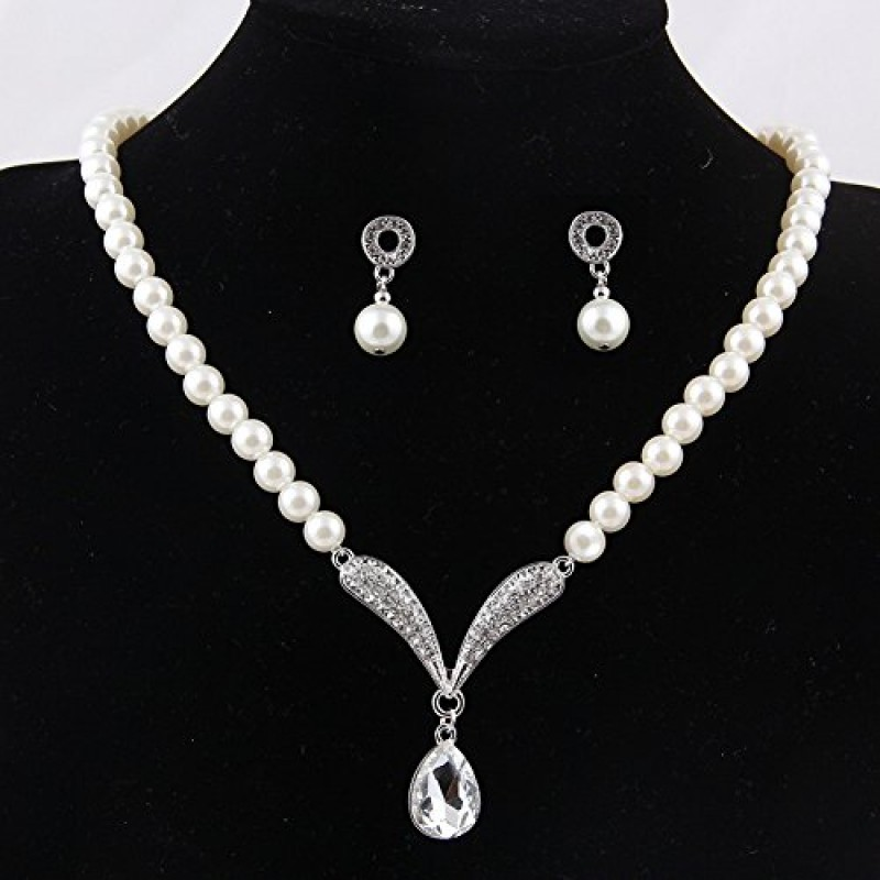622d31b2c4a8e Buy Buy Shining Diva Fashion Crystal Party Wear Pearl Necklace Set ...
