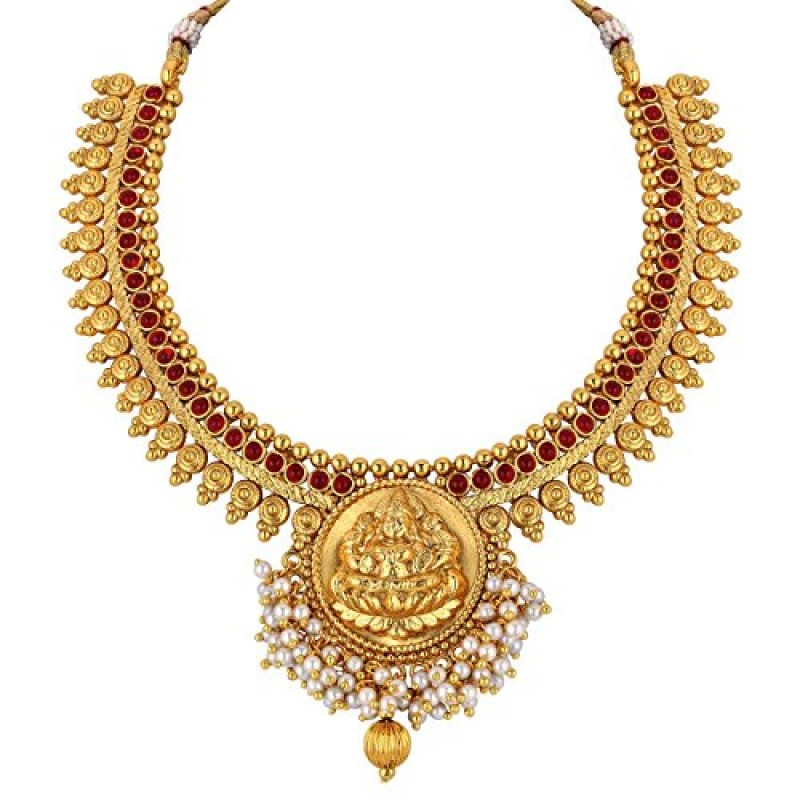 098fb1eec98a6 Buy Spargz Gold Brass Metal Synthetics Stone Necklace Set for Women ...